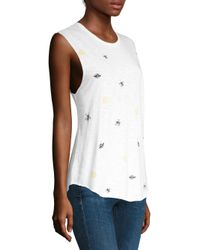 Feel The Piece - White Embroidered Cut Off Tank - Lyst