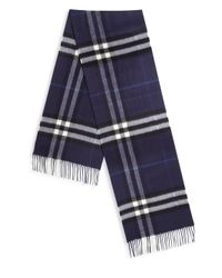 Burberry | Blue Fringed Trim Cashmere Scarf for Men | Lyst