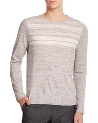 Vince Gray Striped Sweater for men