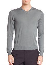 Giorgio Armani   Gray V-neck Cotton Sweater for Men   Lyst