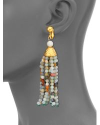 Kenneth Jay Lane Multicolor Beaded Tassel Clip-on Earrings