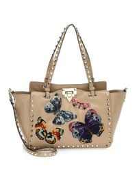 Valentino - Multicolor Small Rockstud Butterfly Leather Tote - Lyst