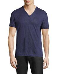 John Varvatos Blue Linen V-neck T-shirt for men