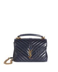 Saint Laurent | Blue Medium College Monogram Leather Shoulder Bag | Lyst