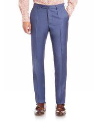Incotex Blue Benson Sharkskin Dress Pants for men