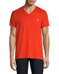 Burberry - Red Jadford Cotton V-neck T-shirt for Men - Lyst