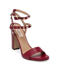Valentino Red Rockstud Leather Ankle-strap Sandals
