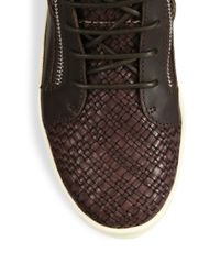 Giuseppe Zanotti - Brown Woven Leather Mid-top Sneakers for Men - Lyst