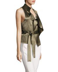 Halston Heritage - Multicolor Draped Satin Waistcoat - Lyst