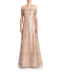 Rene Ruiz - Metallic Art Deco Cap-sleeved Gown - Lyst