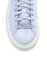 PUMA Blue Basket Platform Leather Sneakers