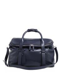 Giorgio Armani Blue Large Leather Weekend Bag for men