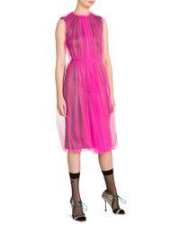 Prada Pink Sleeveless Tulle Overlay Dress