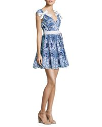 Alexis Blue Lucia Bow Embroidered Cotton Dress