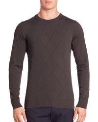 Giorgio Armani - Brown Diamond-flocked Crewneck Sweater for Men - Lyst