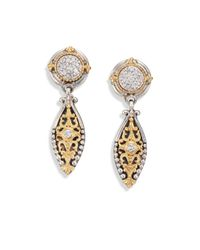 Konstantino - Metallic Asteri Diamond, 18k Yellow Gold & Sterling Silver Filigree Marquis Drop Earrings - Lyst
