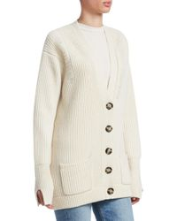 Helmut Lang Multicolor Women's Ribbed Wool Cardigan - Light Canvas - Size Medium