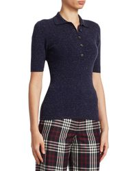 Victoria Beckham Blue Short Sleeve Polo Top