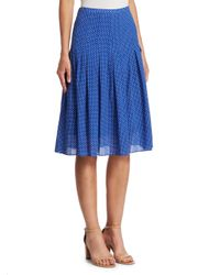 Akris Punto - Blue Pleated Polka Dot Skirt - Lyst