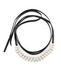 Fallon - Metallic Monarch Faux Pearl & Leather Wrap Choker - Lyst