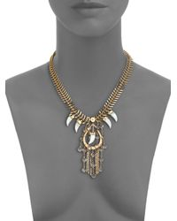 House of Lavande Metallic Nihiwatu Mother-of-pearl & Crystal Fish Spine Bib Necklace