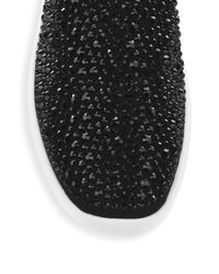 Giuseppe Zanotti Black Studded Velvet Slip-on Sneakers for men