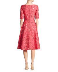 Lela Rose | Red Elbow Sleeve Dress | Lyst