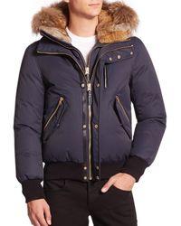 Mackage Blue Dixon Fur-Trimmed Bomber Jacket for men