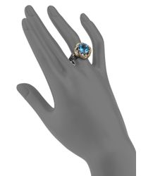 Konstantino Hermione Blue Topaz, 18k Yellow Gold & Sterling Silver Floral Ring