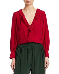 Sea Red Solange Long-sleeve Button-down Ruffle Silk Blouse