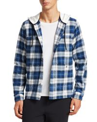 Madison Supply Blue Plaid Cotton Flannel Hooded Shirt for men
