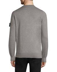Stone Island Gray Wool Crewneck Sweater for men