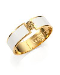 Alexander McQueen - White Enamel Skull Button Bangle Bracelet - Lyst
