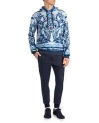 Dolce & Gabbana - Blue Sweater In Printed Cotton With A Hood for Men - Lyst