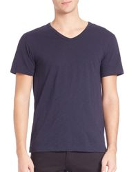 Vince - Blue Slub V-neck Tee for Men - Lyst