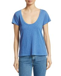 Rag & Bone - Blue Women's Scoop Neck Tee - White - Size Large - Lyst