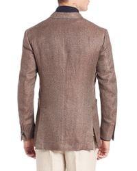 Eidos Brown Camel & Wool Herringbone Blazer for men