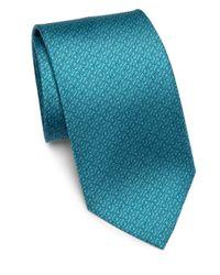 Ferragamo - Blue Gancini Patterned Silk Tie for Men - Lyst