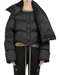 Rick Owens - Black Funnel-neck Cropped Puffer Jacket - Lyst