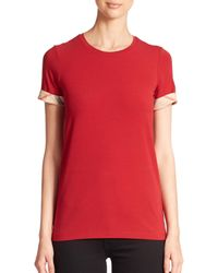 Burberry Red Check-cuffed Tee