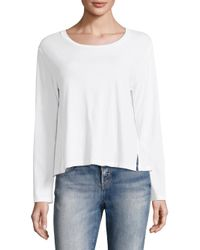 AMO - White Twist Long Sleeve Cotton Tee - Lyst