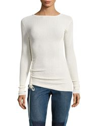 Helmut Lang White Side Tie Crepe Rib-knit Pullover