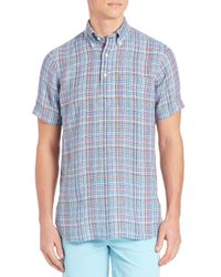 Polo Ralph Lauren - Blue Plaid Half-placket Button-down Shirt for Men - Lyst
