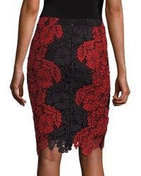 Alice + Olivia Red Farrel Two-tone Lace Pencil Skirt