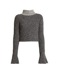 Loewe Gray Wool-blend Scarf Knit Sweater