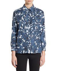 Burberry Blue Posy Boyfriend Shirt