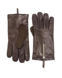 Want Les Essentiels De La Vie - Brown Mozart Leather & Suede Zip Gloves for Men - Lyst