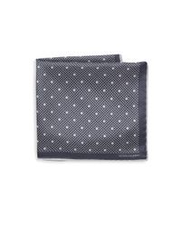 Hook + Albert - Gray Polka Dot Silk Pocket Square for Men - Lyst