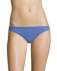 Shoshanna | Blue Striped Classic Bikini Bottom | Lyst