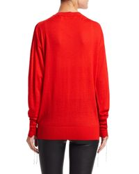 Helmut Lang Red Long Sleeve Cashmere V-neck Sweater